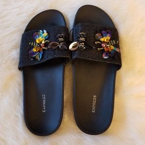 Express Black Embellished Slip On Sandals New